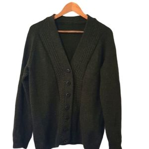 Hand made khaki brown knitted wool cardigan Large